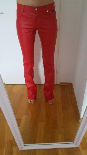 Echtlederhose in Rot Größe 38