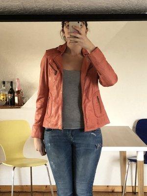 Tamaris Leather Jacket salmon-bright red