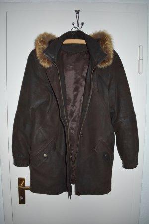Manteau en cuir brun-brun foncé cuir