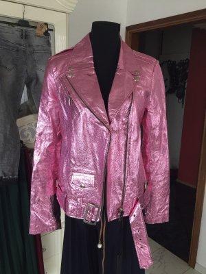 Patago Chaqueta de cuero rosa