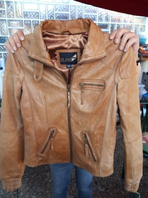 Jilani Leather Jacket cognac-coloured
