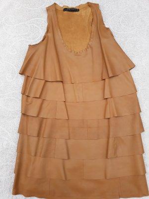 Zara Leather Dress cognac-coloured leather