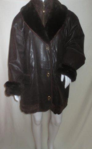 Leather Jacket black brown-dark brown