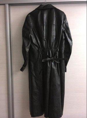 Oversized Coat black leather