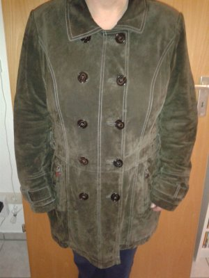 Cappotto in pelle verde scuro