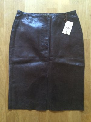Biba Leather Skirt brown-black brown leather