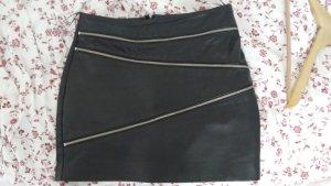 Mango Leren rok zwart
