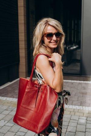 Echtledershopper Handtasche Shopper Kalbsleder Vera Pelle bordo
