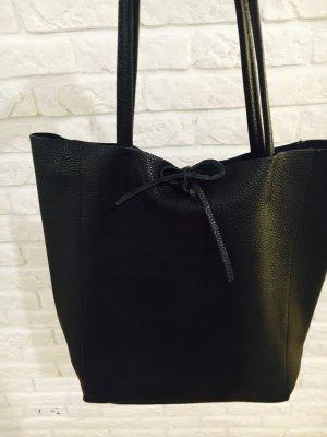 Echtledershopper Handtasche Shopper Kalbsleder Vera Pelle schwarz