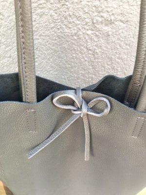 Echtledershopper Shopper Kalbsleder Vera Pelle Handtasche neu grau