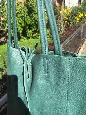 Echtledershopper Shopper Kalbsleder Vera Pelle Handtasche neu petrol/grün
