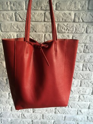 Vera Pelle Shopper rouge brique cuir