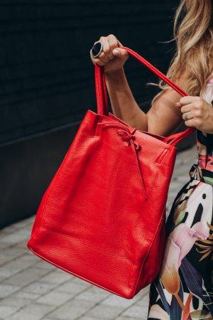 Echtledershopper Shopper Kalbsleder Vera Pelle Handtasche neu rot