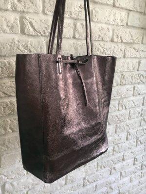 Echtledershopper Shopper Kalbsleder Vera Pelle Handtasche neu silber