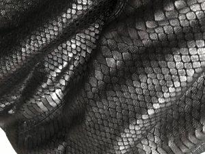 Echtledertasche in Metal-Krokooptik
