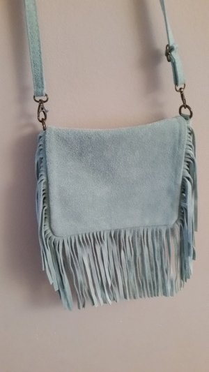 Fringed Bag baby blue leather