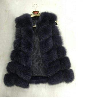 Echtpelz Fell Weste Luxus Coat Moderne Jacke Felljacke Schwarz Gr. S