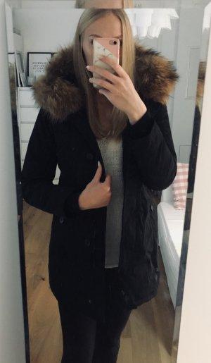 Echtpelz Parka Wintermantel schwarz Größe 36