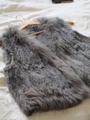Smanicato di pelliccia grigio chiaro-grigio Pelliccia