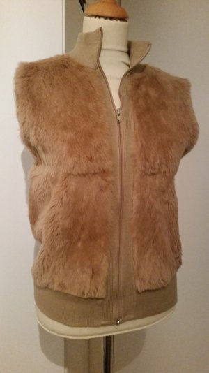 Fur vest sand brown fur