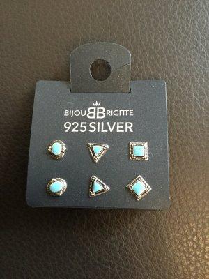 Bijou Brigitte Zilveren oorbellen zilver-turkoois Zilver