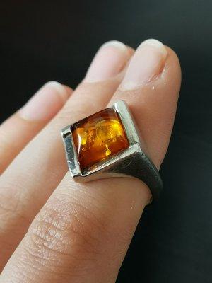 Echtsilber Ring Bernstein