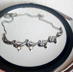 Echtsilber Vintage Halskette mit Perlen