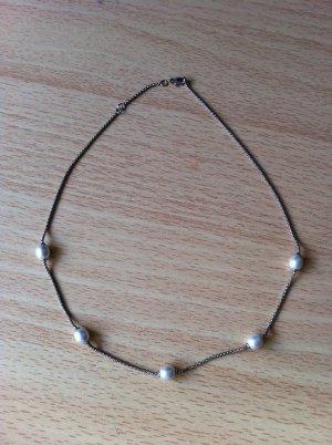 Echtsilberkette mit 5 Perlen verziert 45cm