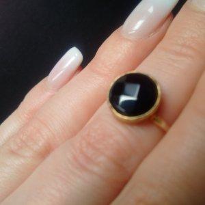 Echtstein Ring mit schwarzem Onyx