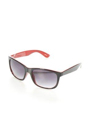 eckige Sonnenbrille rot-schwarz klassischer Stil