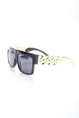 eckige Sonnenbrille schwarz-goldfarben extravaganter Stil