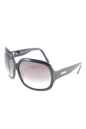 Occhiale da sole spigoloso nero-argento stile casual