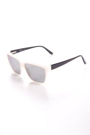 eckige Sonnenbrille schwarz-weiß Colourblocking minimalistischer Stil