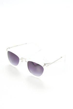 eckige Sonnenbrille weiß extravaganter Stil