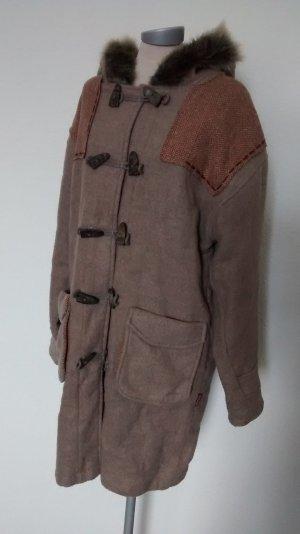 eco fashion Komodo Wollmantel Dufflecoat Mantel Wolle Braun fairtrade Gr. XL 44 Wintermantel Kapuze
