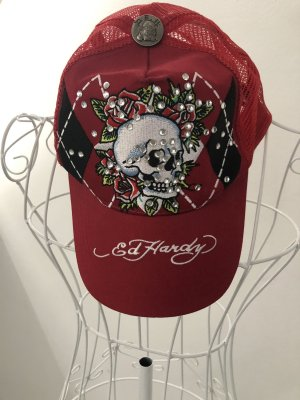 Ed Hardy Baseball Cap red-dark red