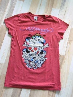 Ed Hardy Christian Audigier Shirt, Skull, Totenkopf, Straß, rostrot, Größe M