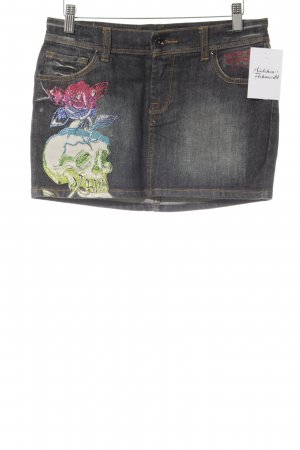 Ed Hardy Gonna di jeans nero motivo floreale stile casual