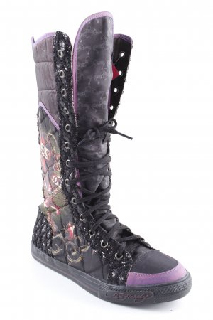 Ed Hardy Short Boots monogram pattern casual look