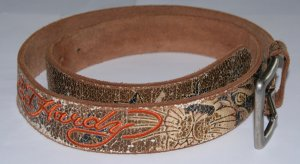 Ed Hardy Leather Belt bronze-colored