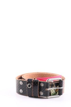 Ed Hardy Cintura di pelle nero-oro stampa integrale stile casual