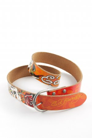 Ed Hardy Leather Belt abstract pattern extravagant style