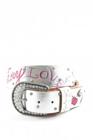 Ed Hardy Leather Belt silver-colored abstract pattern casual look