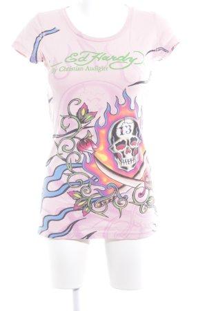Ed Hardy Print-Shirt rosé-grasgrün platzierter Druck Logoprint