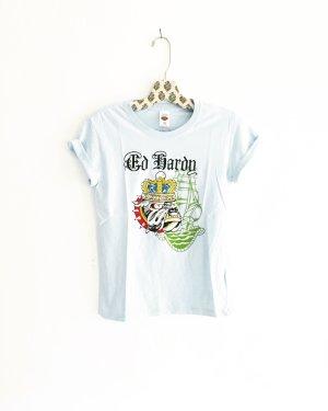 ed hardy shirt / hellblau / t-shirt / light blue / dog