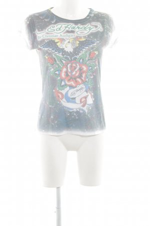 Ed Hardy T-Shirt Blumenmuster Casual-Look