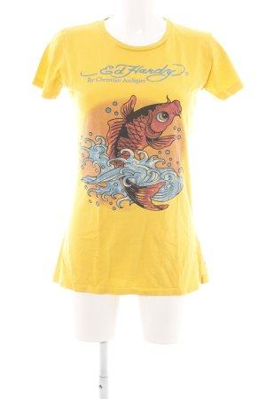Ed Hardy T-Shirt blassgelb Animalmuster Casual-Look