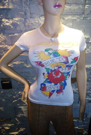 %%% Ed Hardy T-Shirt in gr 40/42 Neu Weiss