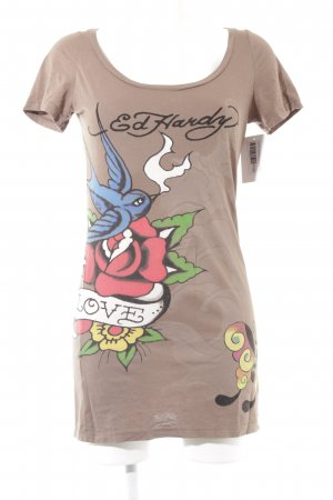 Ed Hardy T-Shirt Motivdruck Casual-Look