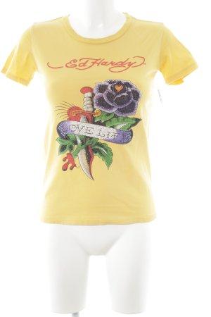 Ed Hardy T-Shirt Motivdruck Casual-Look
